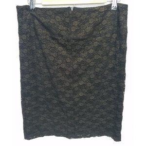 Charlotte Russe Skirt Black Lace Gold Large
